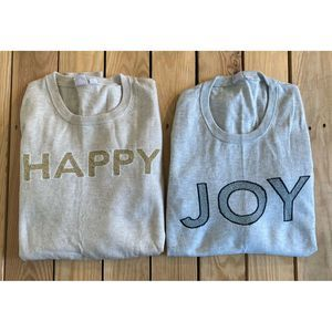 Lot of 2 GAP Christmas Joy Happy Knit Wool Sweater